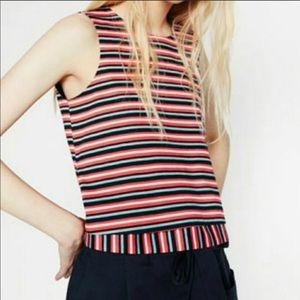 Zara Stripe Crop Top Size Large
